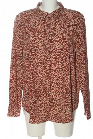 H&M Hemd-Bluse creme-rot Allover-Druck Casual-Look