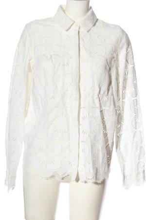 H&M Hemd-Bluse weiß Webmuster Casual-Look
