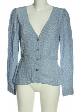 H&M Hemd-Bluse blau-wollweiß Allover-Druck Casual-Look