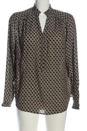 H&M Hemd-Bluse schwarz-wollweiß Allover-Druck Casual-Look