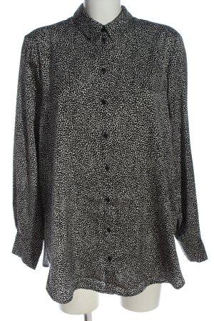 H&M Hemd-Bluse weiß-schwarz Allover-Druck klassischer Stil
