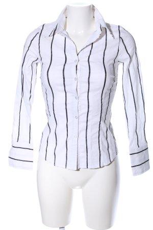 H&M Hemd-Bluse weiß-schwarz Streifenmuster Business-Look
