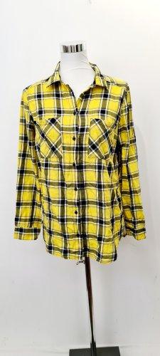 H&M Camisa de franela negro-amarillo