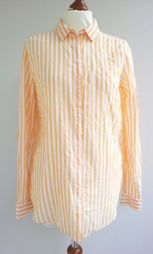 H&M Hemdbluse in 38, Weiß / Orange gestreift, Baumwolle, NEU