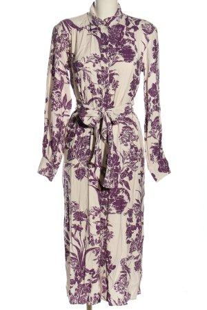 H&M Koszulowa sukienka w kolorze białej wełny-fiolet Na całej powierzchni