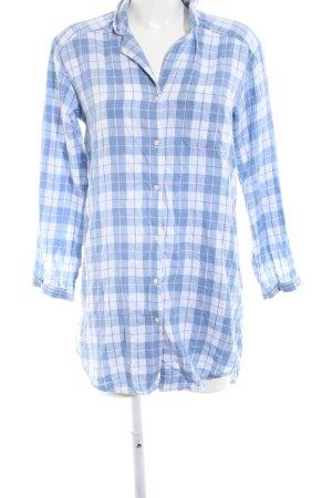 H&M Hemdblusenkleid weiß-blau Karomuster Casual-Look