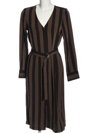 H&M Hemdblusenkleid schwarz-braun Streifenmuster Casual-Look