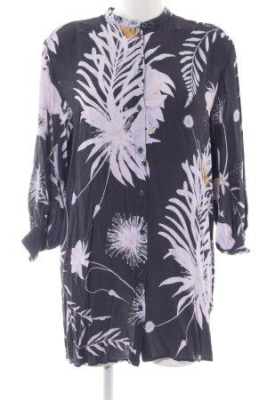 H&M Hemdblusenkleid schwarz-weiß Blumenmuster Business-Look