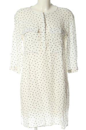 H&M Hemdblusenkleid weiß-schwarz Allover-Druck Casual-Look