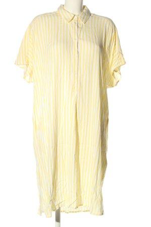 H&M Hemdblusenkleid blassgelb-weiß Streifenmuster Casual-Look