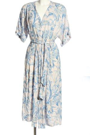H&M Robe chemise bleu-blanc motif abstrait style décontracté