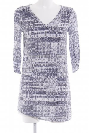 H&M Hemdblusenkleid weiß-helllila abstraktes Muster Casual-Look