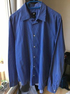 H&M Herrenhemd blau weiß gestreift Easy Iron