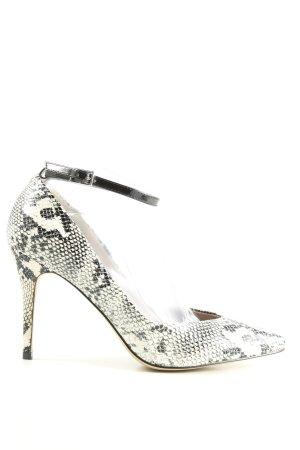 H&M High Heels weiß-schwarz Allover-Druck Elegant