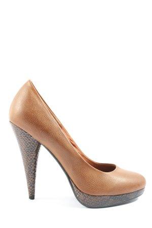 H&M High Heels braun-schwarz Allover-Druck Casual-Look