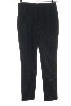 H&M High-Waist Hose schwarz-hellgrau Streifenmuster Business-Look