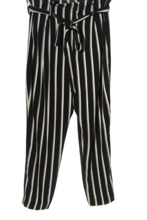 H&M High-Waist Hose schwarz-creme Streifenmuster Casual-Look