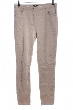 H&M High-Waist Hose wollweiß Animalmuster Casual-Look