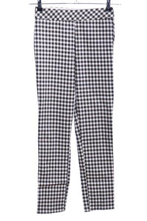 H&M Pantalon taille haute noir-blanc motif à carreaux style décontracté