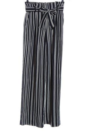 H&M High-Waist Hose schwarz-weiß Streifenmuster Casual-Look