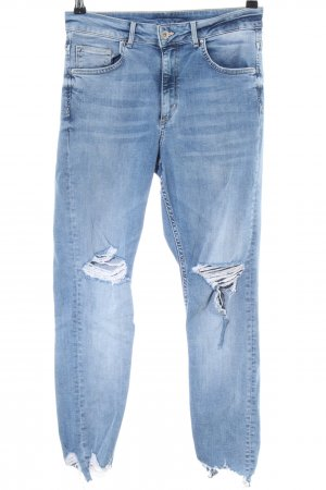 H&M Hoge taille jeans blauw straat-mode uitstraling