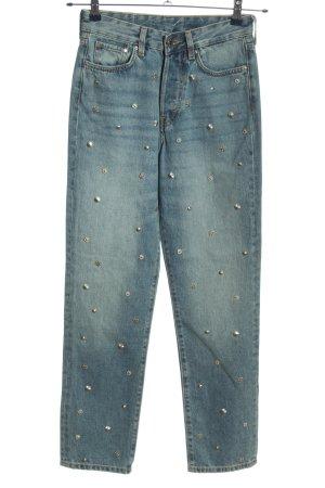 H&M High Waist Jeans blau meliert Casual-Look