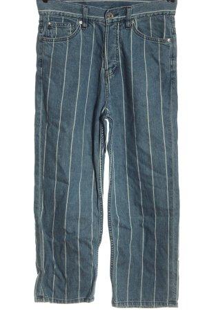 H&M High Waist Jeans blau-weiß Allover-Druck Casual-Look