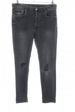 H&M Hoge taille jeans lichtgrijs casual uitstraling