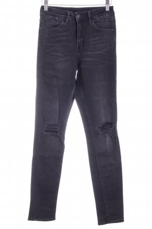H&M Hoge taille jeans zwart-donkergrijs casual uitstraling Gemengd weefsel