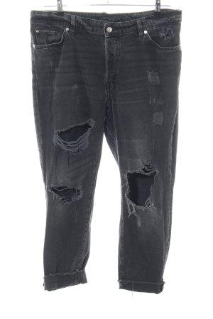 H&M Hoge taille jeans zwart straat-mode uitstraling