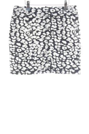 H&M High Waist Rock weiß-schwarz abstraktes Muster Casual-Look