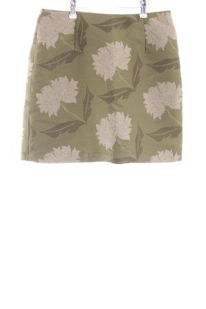 H&M High Waist Rock khaki-wollweiß Blumenmuster Casual-Look