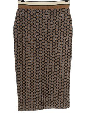 H&M High Waist Rock braun-schwarz grafisches Muster Casual-Look