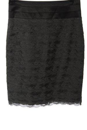 H&M High Waist Rock schwarz-hellgrau Elegant
