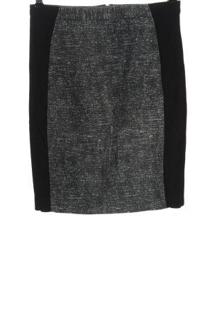 H&M High Waist Rock schwarz-hellgrau meliert Casual-Look