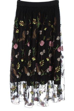 H&M High Waist Rock schwarz Blumenmuster Elegant