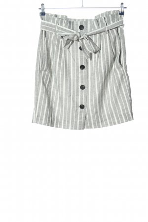 H&M Jupe taille haute blanc-gris clair motif rayé style décontracté