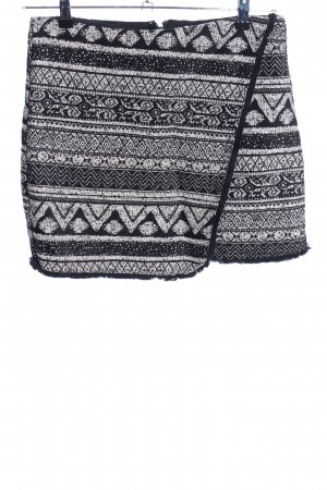 H&M High Waist Skirt black-white graphic pattern casual look