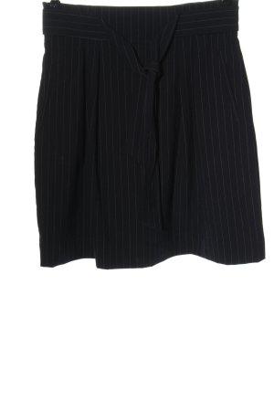 H&M High Waist Rock schwarz Streifenmuster Business-Look