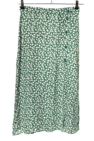 H&M High Waist Rock grün-weiß Allover-Druck Casual-Look