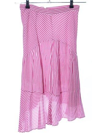 H&M High Waist Rock pink-weiß Streifenmuster Casual-Look