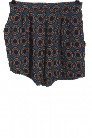 H&M High-Waist-Shorts blau-braun Allover-Druck Casual-Look