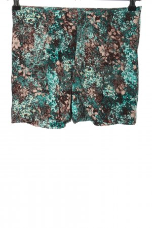 H&M High-Waist-Shorts türkis-braun abstraktes Muster Casual-Look