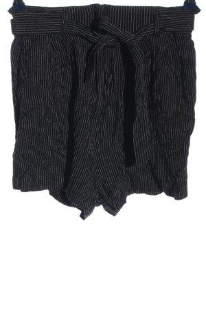 H&M High-Waist-Shorts schwarz-hellgrau Streifenmuster Casual-Look