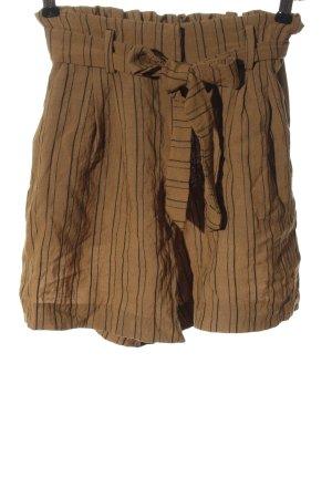H&M High-Waist-Shorts braun-schwarz Streifenmuster Casual-Look