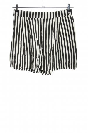 H&M Short taille haute noir-blanc motif rayé style décontracté