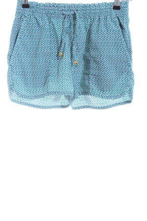 H&M High-Waist-Shorts blau-türkis Allover-Druck Casual-Look