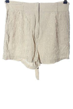 H&M Pantalón corto de talle alto blanco puro estampado a rayas look casual