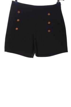 H&M Pantalón corto de talle alto negro look casual
