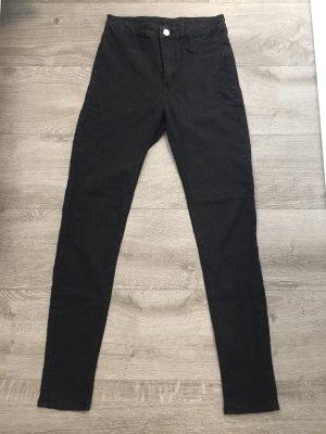 H&M High Waist Skinny Jeans schwarz